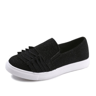 Ruffles Slip-On Flat With Round Toe Plain 3cm Thin Shoes