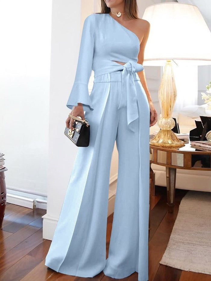 Plain Full Length Lace-Up Wide Legs Slim Jumpsuit