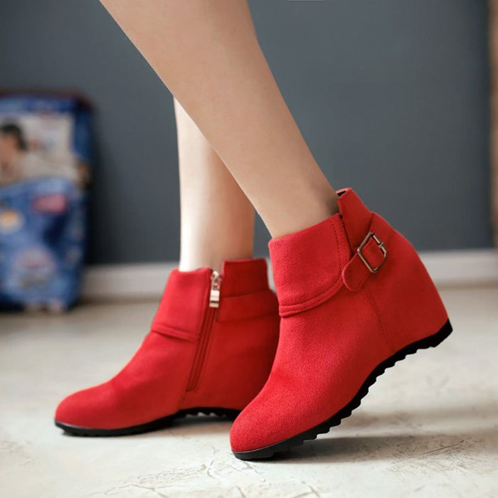 Buckle Round Toe Plain Ankle Boots