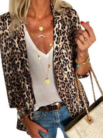 Nine Points Sleeve Leopard Lapel Standard Fall Casual Blazer