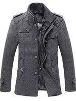 Plain Button Mid-Length Winter Casual Coat
