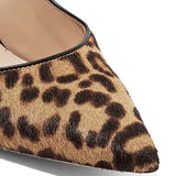 Print Stiletto Heel Pointed Toe Slip-On Leopard Low-Cut Upper Thin Shoes