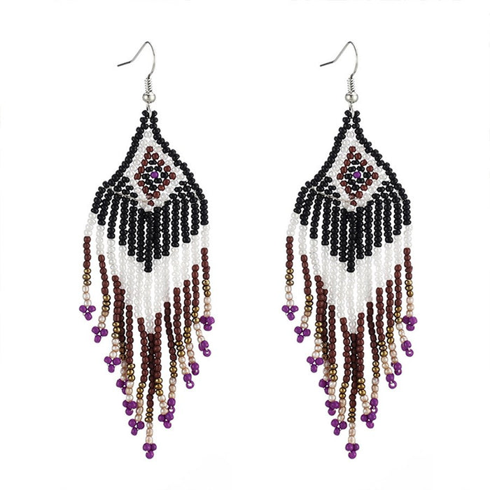 Color Block Bohemian Tassel Holiday Earrings