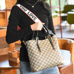 Belt-Decorated PU Plaid Square Tote Bags