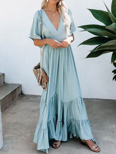 Floor-Length Half Sleeve V-Neck Fashion Summer Dress