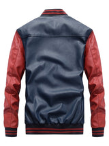 Standard Color Block Stand Collar Winter Loose Leather Jacket