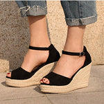 Wedge Heel Buckle Peep Toe Sandals