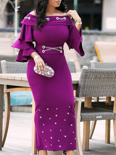 Rivet Ankle-Length Three-Quarter Sleeve Off-The-Shoulder Bodycon Dresses