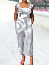 Western Stripe Mid-Calf Slim Jumpsuit