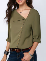 Oblique Collar Asymmetric Plain Long Sleeve Standard Blouse