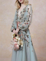 Long Sleeve Embroidery Ankle-Length A-Line Sweet Dress