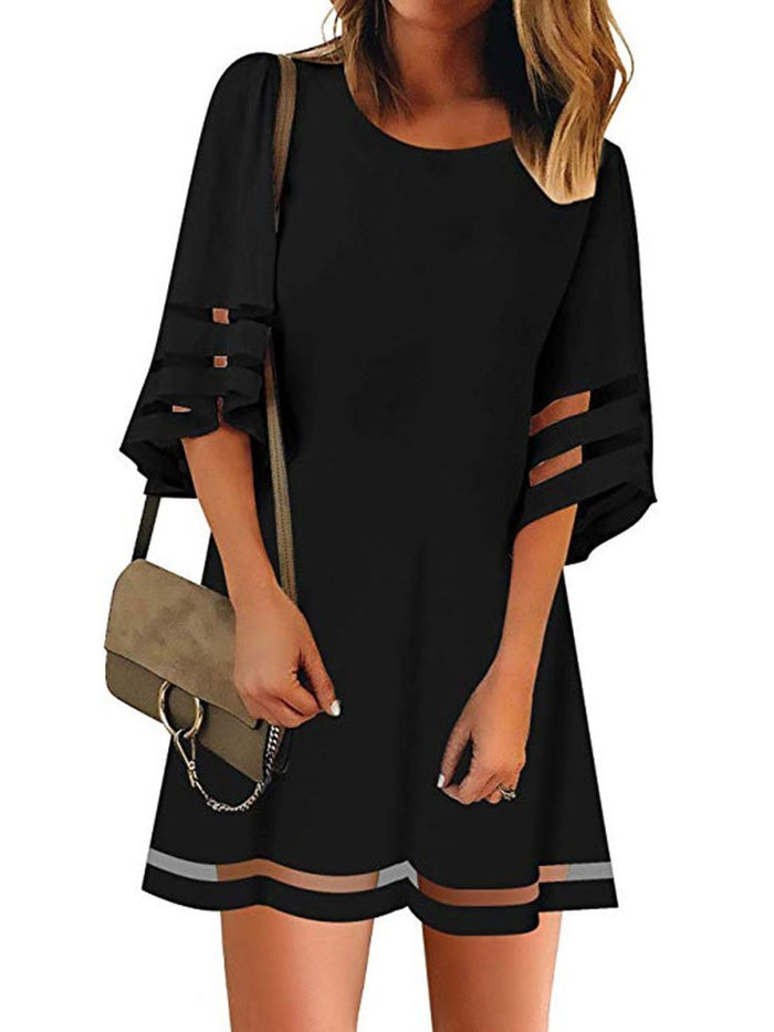 Above Knee Mesh Three-Quarter Sleeve Flare Sleeve A-Line Dress