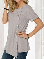 Round Neck Mid-Length Short Sleeve Slim T-Shirt
