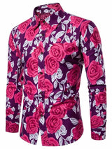 Lapel Floral Print Slim Fall Shirt