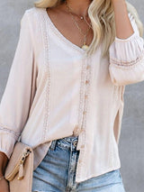 Regular Plain V-Neck Mid-Length Three-Quarter Sleeve Blouse