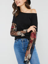 Long Sleeve Round Neck Standard Embroidery Slim T-Shirt
