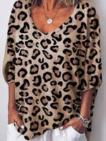 V-Neck Three-Quarter Sleeve Leopard Casual Loose T-Shirt