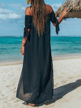 Split Half Sleeve Floor-Length Western Plain Dress