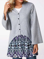 Regular Patchwork Long Sleeve Mid-Length Blouse