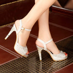 Line-Style Buckle Peep Toe Stiletto Heel Ankle Strap Sweet Banquet Sandals