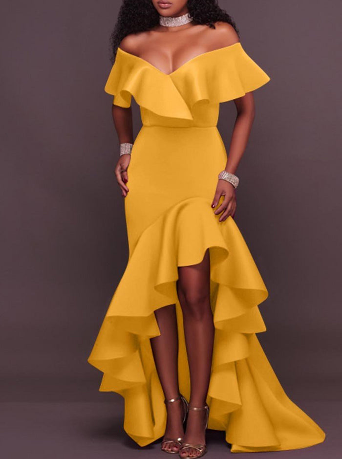 Ruffles Backless Asymmetrical Maxi Dress