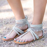 Flat With Zipper Thong Vintage Sandals