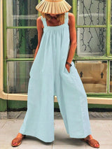 Pleated Full Length Casual Loose Wide Legs Jumpsuit