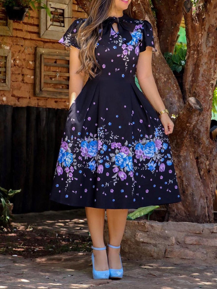 Print Short Sleeve Mid-Calf Floral Western Dress