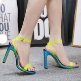 Open Toe Buckle Ankle Strap Chunky Heel Professional Color Block Sandals