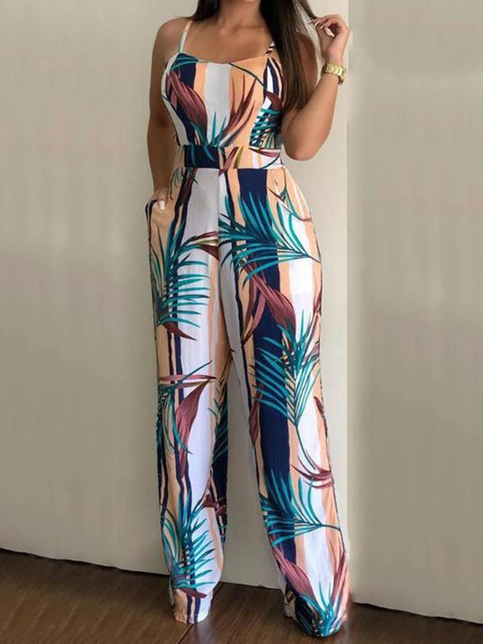 Western Plant Full Length Straight Slim Jumpsuit