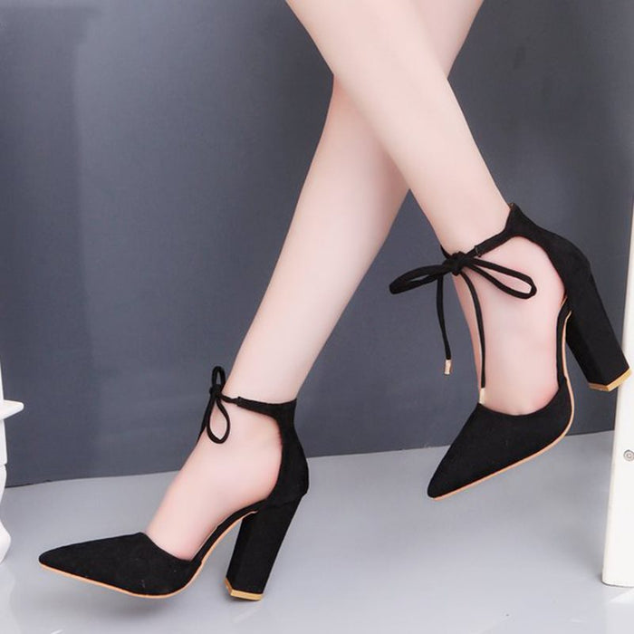 Pointed Toe Lace-Up Chunky Heel 9cm Low-Cut Upper Thin Shoes