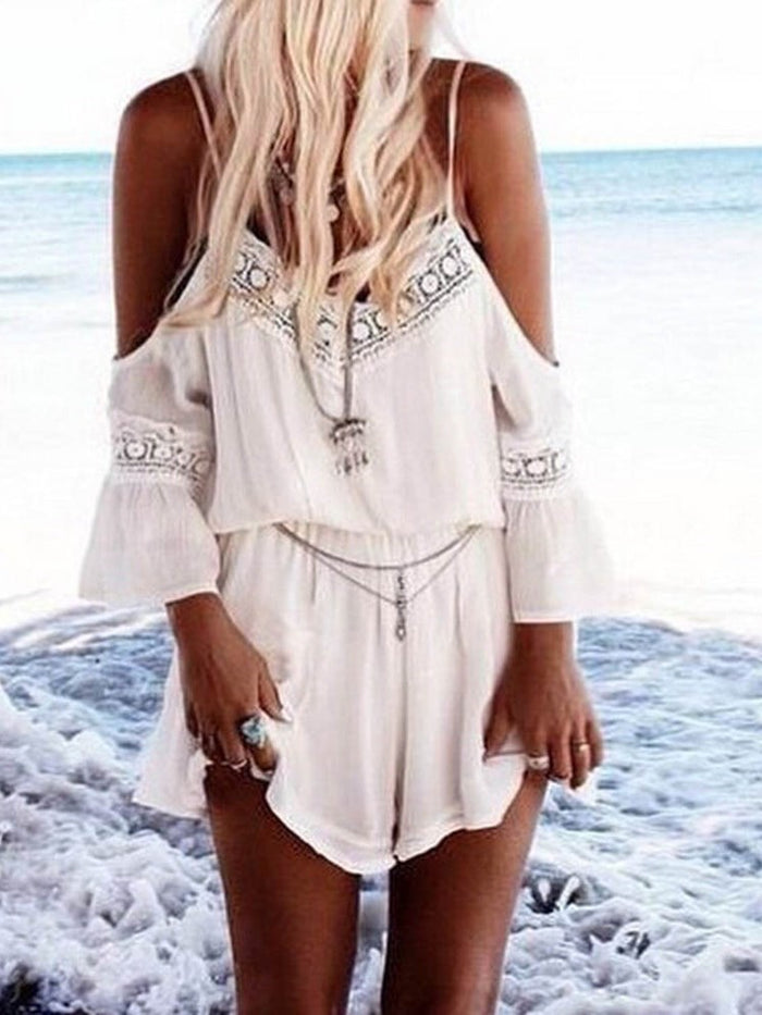 Shorts Travel Look Plain Mid Waist Loose Jumpsuit