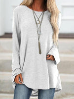 Plain Round Neck Mid-Length Loose Casual T-Shirt