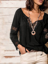 Lace Standard Long Sleeve Blouse