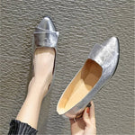 Slip-On Block Heel Pointed Toe Casual Low Heel Thin Shoes