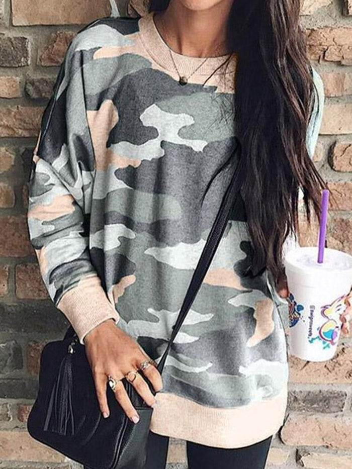 Regular Camouflage Round Neck Long Sleeve Hoodie