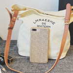Letter Print Canvas Barrel-Shaped Tote Bags