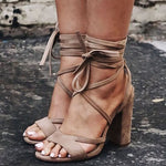 Lace-Up Chunky Heel Strappy Open Toe Casual Western Sandals
