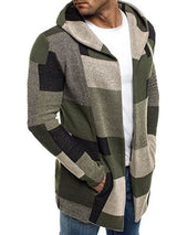 Patchwork Color Block Mid-Length Straight Fall Coat