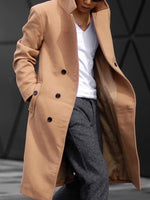 Plain Long Button Fall Casual Coat