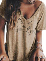 Short Sleeve V-Neck Animal Casual Loose T-Shirt