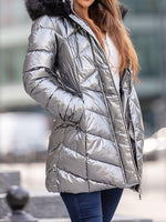 Slim Thick Patchwork Mid-Length Cotton Padded Jacket