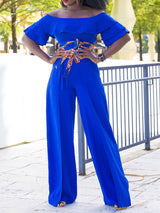 Falbala Plain Full Length Slim High Waist Jumpsuit