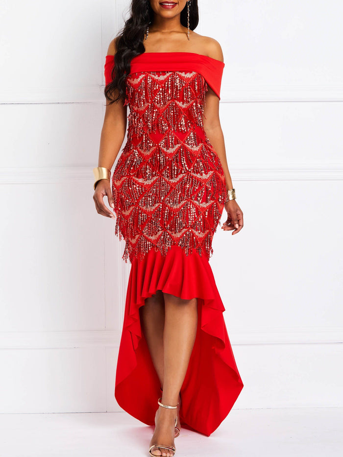 Floor-Length Short Sleeve Off Shoulder Pullover High Waist Dress