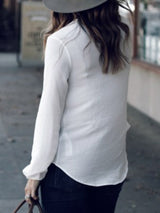 Plain V-Neck Long Sleeve Standard Blouse