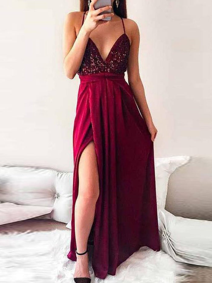 Red Floor-Length A-Line V-Neck Evening Dress