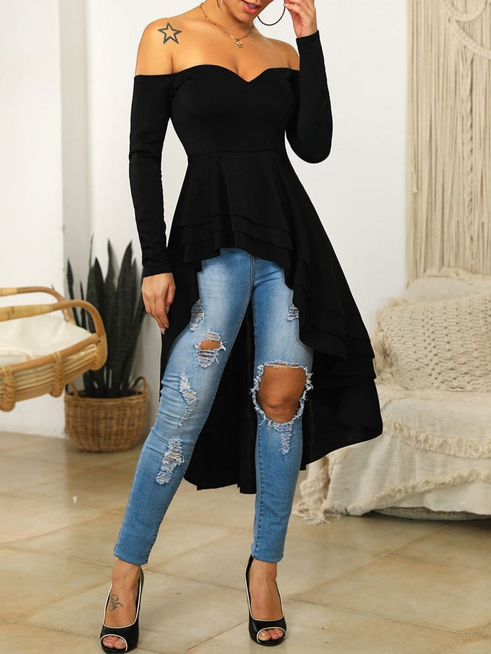 Plain Long Off Shoulder Western Fall T-Shirt