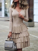 Knee-Length V-Neck Nine Points Sleeve Casual Layered Dress Dress