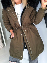 Loose Zipper Mid-Length Cotton Padded Jacket
