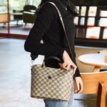 PU Plaid Print Barrel-Shaped Tote Bags